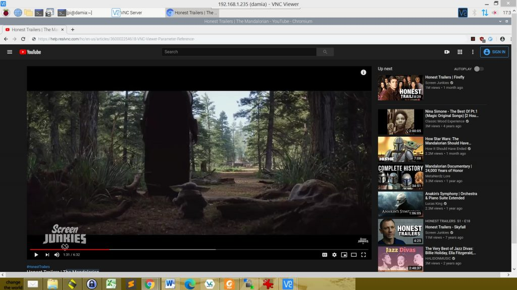 VNC viewer scaled to 100 % with additional toolbars. YouTube is not a good idea with RealVNC