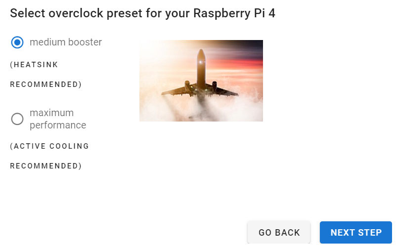 two different overclock presets for your Raspberry Pi - medium booster and maximum performance
