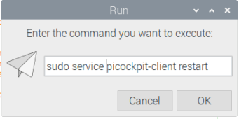 restarting the picockpit-client service using the run dialog
