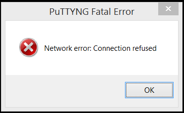 PuTTYNG showing a fatal error.