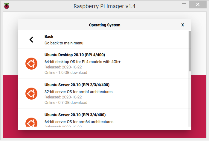 Raspberry Pi Imager screenshot showing different Ubuntu version for the Raspberry Pi and their compatibility (RPi 4/400, RPi 2/3/4/400, RPi 3/4/400)
