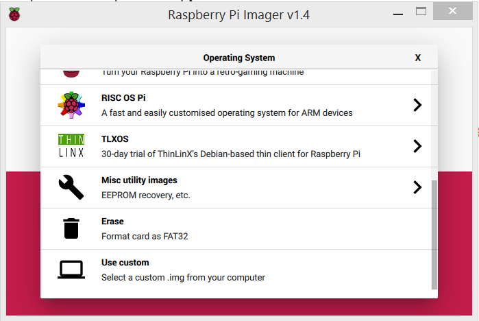 Raspberry Pi imager screenshot, showing RISC OS Pi, TLXOS, Misc utility images, erase and use custom