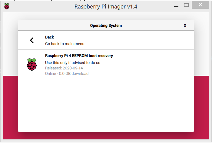 Raspberry Pi Imager showing the Raspberry Pi 4 EEPROM boot recovery screen.