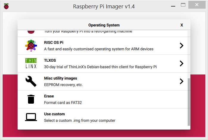 Raspberry Pi Imager showing the operating system selection screen, allowing tu use custom image (.img) files.