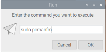Run command dialog on Raspberry Pi OS