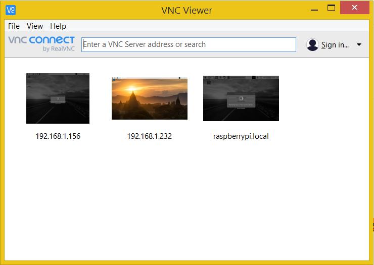 VNC Viewer main screen