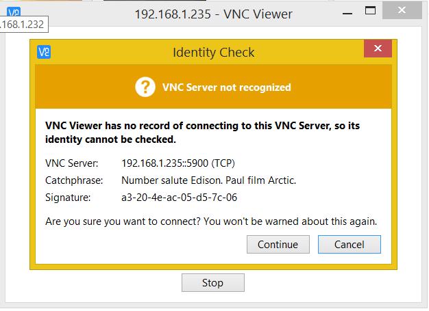 VNC Server identity check