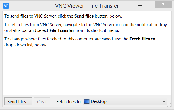 VNC Viewer file transfer screen