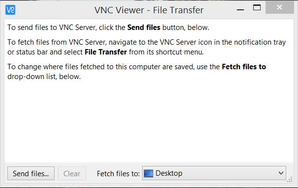 VNC Viewer file transfer screen