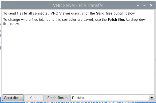 VNC Server file transfer screen