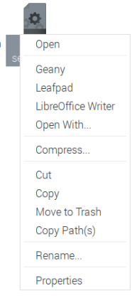 Context menu showing Geany the programmer's editor on Raspberry Pi OS