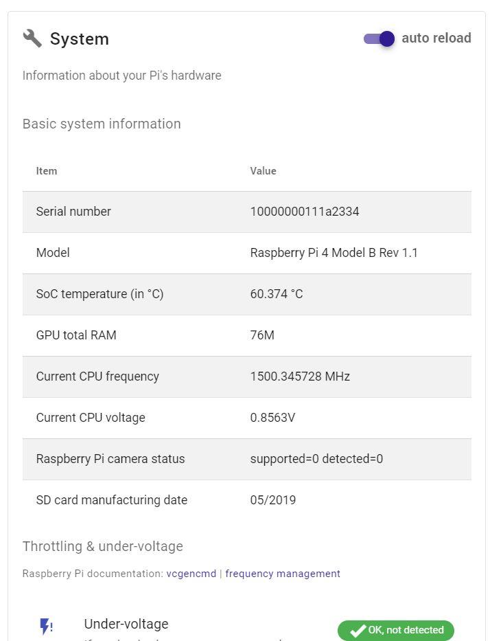 PiCockpit PiDoctor screenshot showing Raspberry Pi model and some statistics
