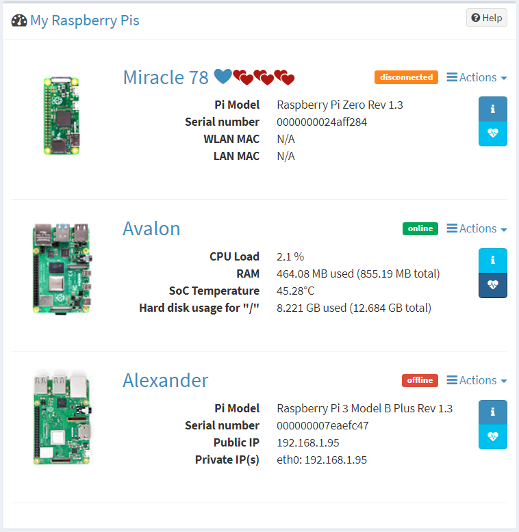 PiCockpit web interface, overview of your Raspberry Pis