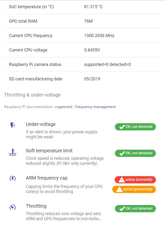 PiDoctor system module shows you vital statistics related to your Raspberry Pi overclocking: the current CPU frequency, the current CPU voltage, the SoC (=CPU) temperature, soft temperature limit, arm frequency cap, throttling, under-voltage.